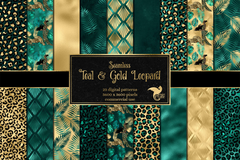 teal-and-gold-leopard-digital-paper