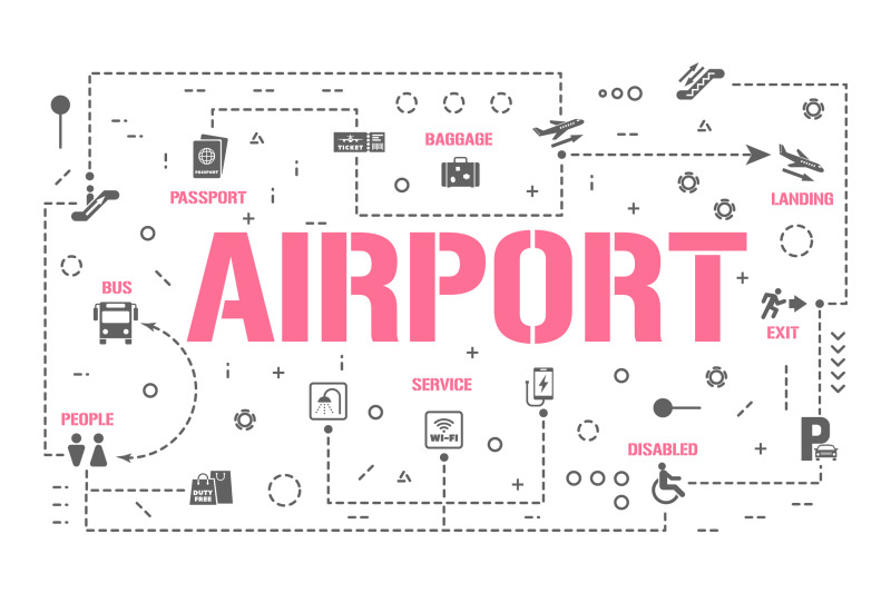 airport-word-concepts-banner-and-icons