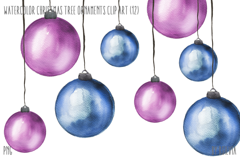 Watercolor Christmas Tree Ornaments By Bsilvia Thehungryjpeg Com