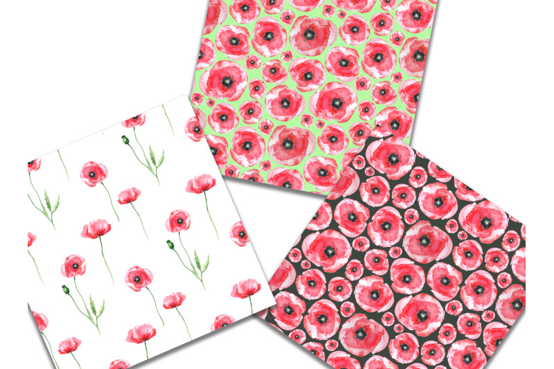 watercolor-digital-paper-poppies-seamless-patterns-scrapbookin