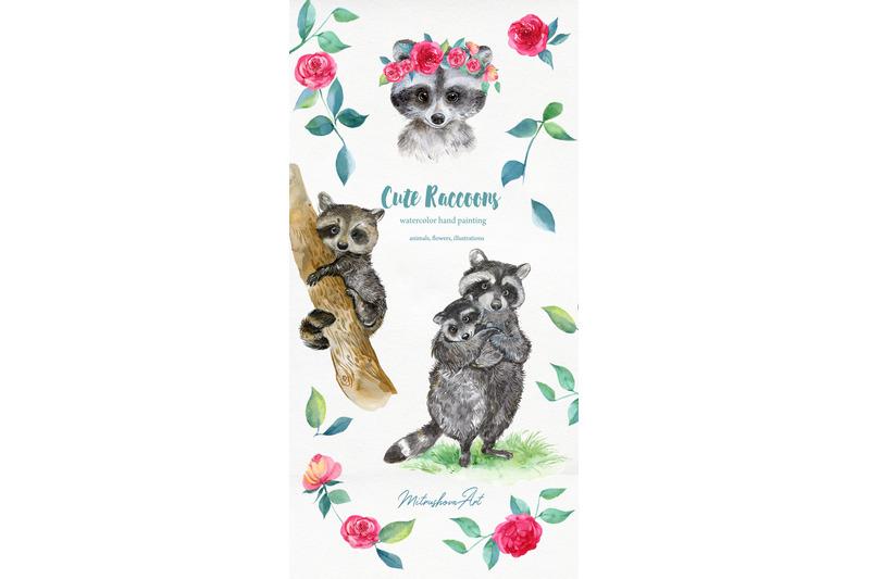 cute-raccoons-watercolor-clipart