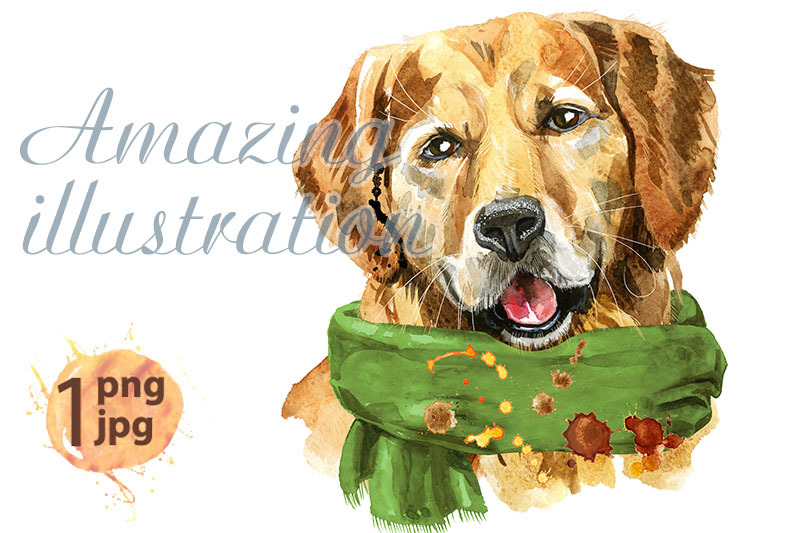 watercolor-portrait-of-golden-retriever-with-green-scarf