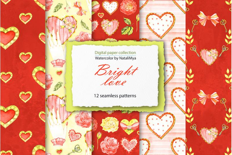 watercolor-hearts-digital-paper-pack