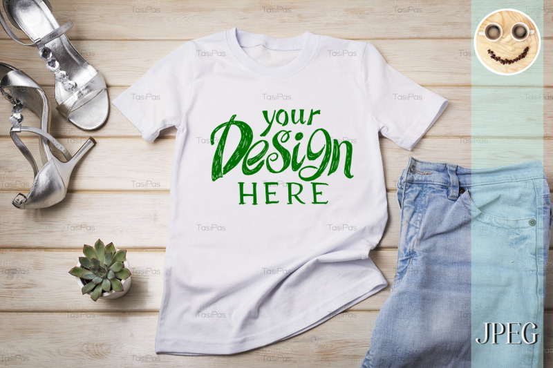 womens-t-shirt-mockup-with-silver-heels-sandals