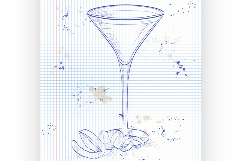 cocktail-vesper-mixed-drink-on-a-notebook-page