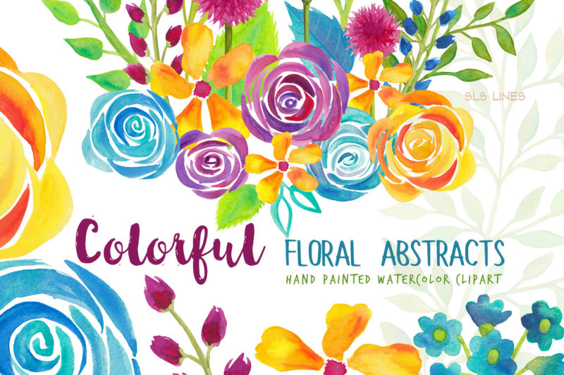 colorful-flower-abstracts-watercolor-clipart