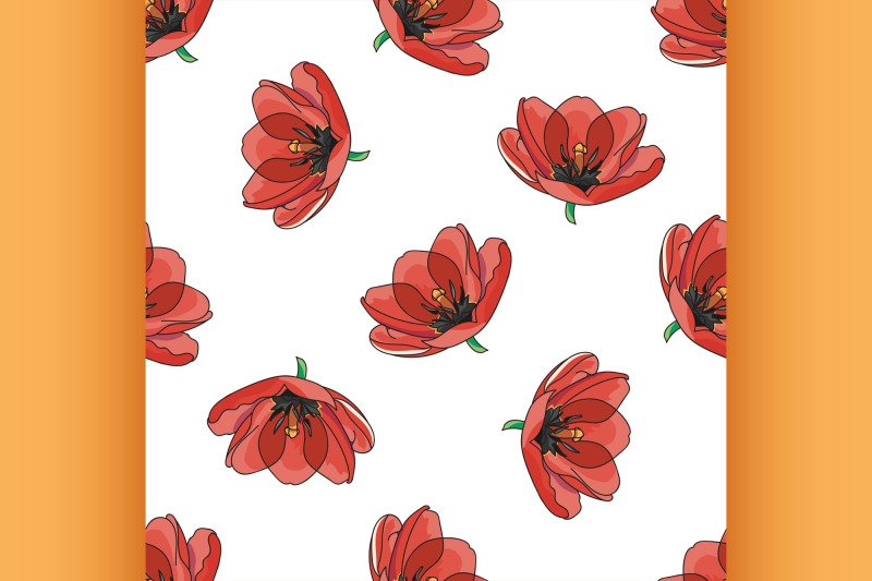 red-tulips-pattern-spring-bunch-of-flowers