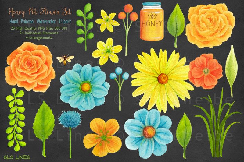 honey-pot-watercolour-flowers