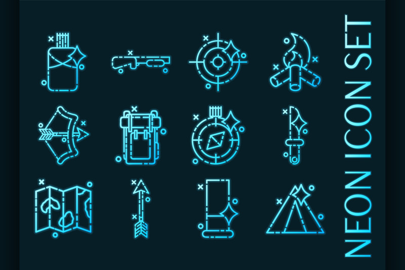 hunting-set-icons-blue-glowing-neon-style