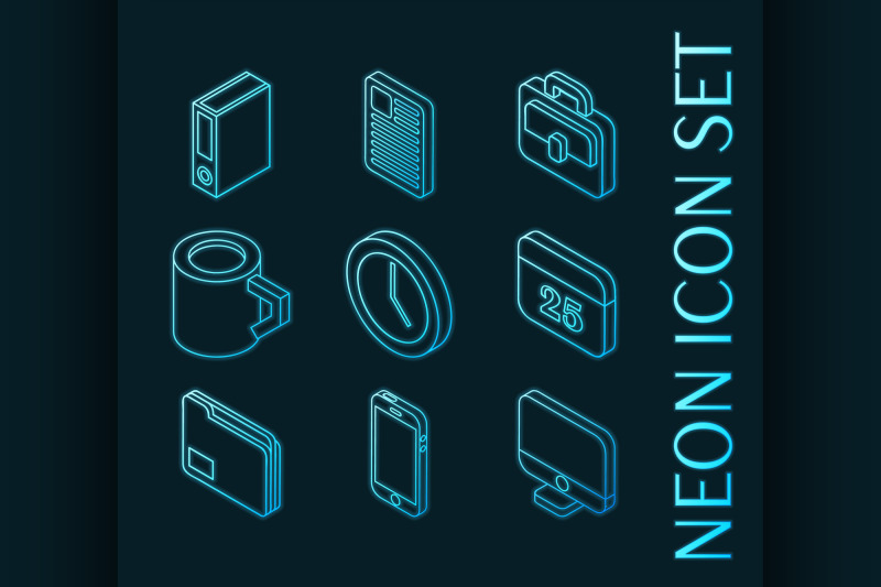 office-set-icons-blue-glowing-neon-style