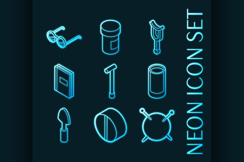 old-age-set-icons-blue-glowing-neon-style
