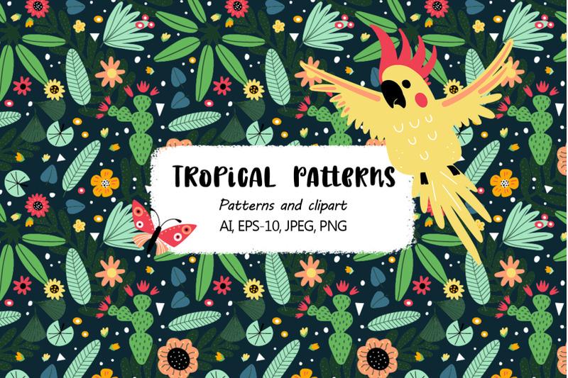 tropical-parrots-set