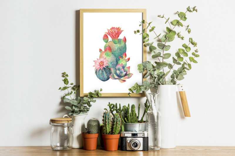 watercolor-cactus-clipart-watercolor-flower-clipart-tropical-exotic