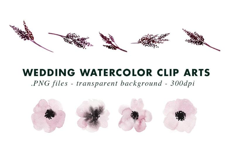 dark-wedding-watercolor-clip-arts