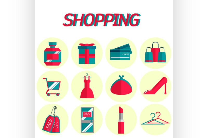 shopping-flat-icon-set