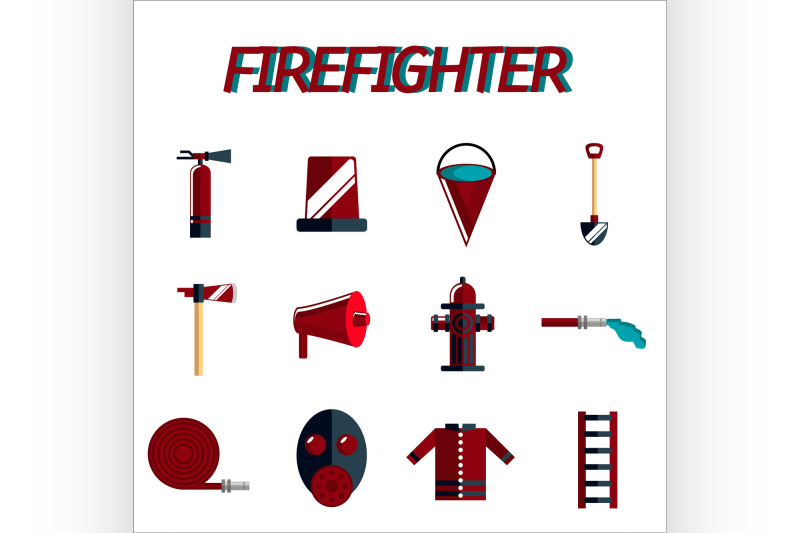 firefighter-flat-icon-set