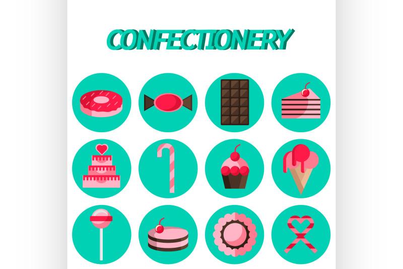 confectionery-flat-icon-set