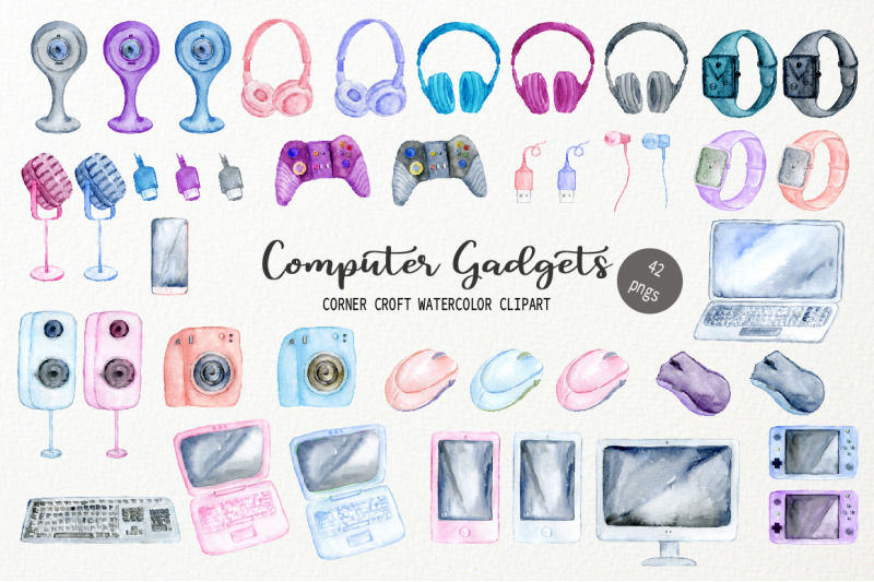 watercolor-computer-gadgets