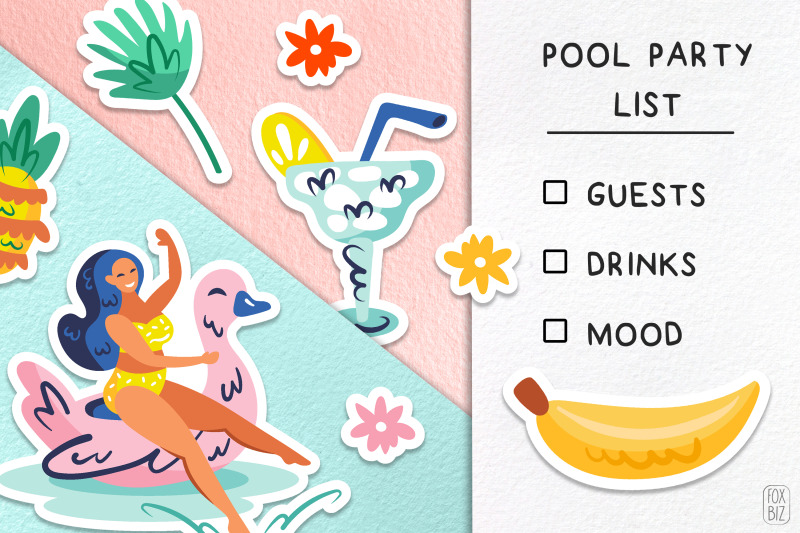 summer-party-clipart-flat-vector-digital-prints-stickers
