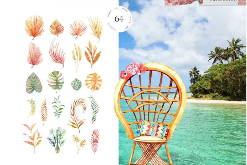 tropical-boho-watercolor-clipart