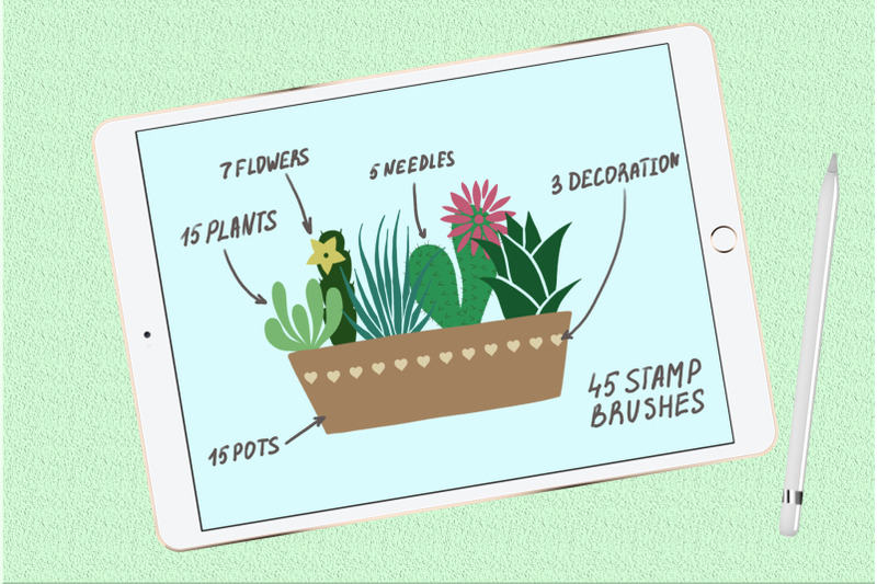 succulents-and-pots-stamp-brushes-for-procreate
