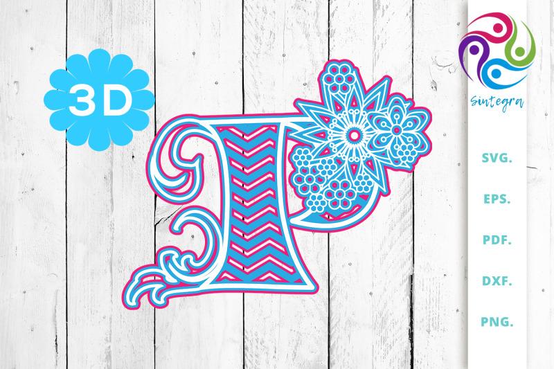3d-multilayer-floral-chevron-letter-p-svg-cut-file