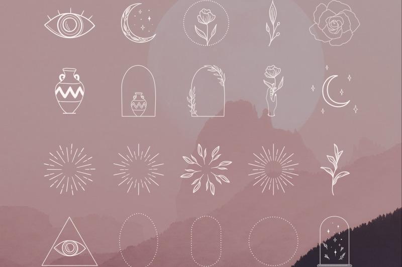 white-logo-elements-frames-sunbursts-logo-design-elements-icons