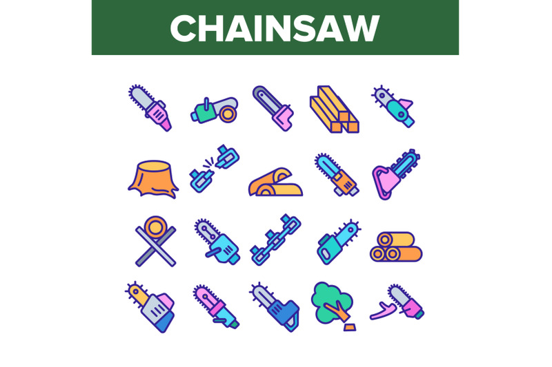 chainsaw-collection-elements-icons-set-vector