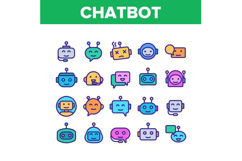 chatbot-robot-collection-elements-icons-set-vector