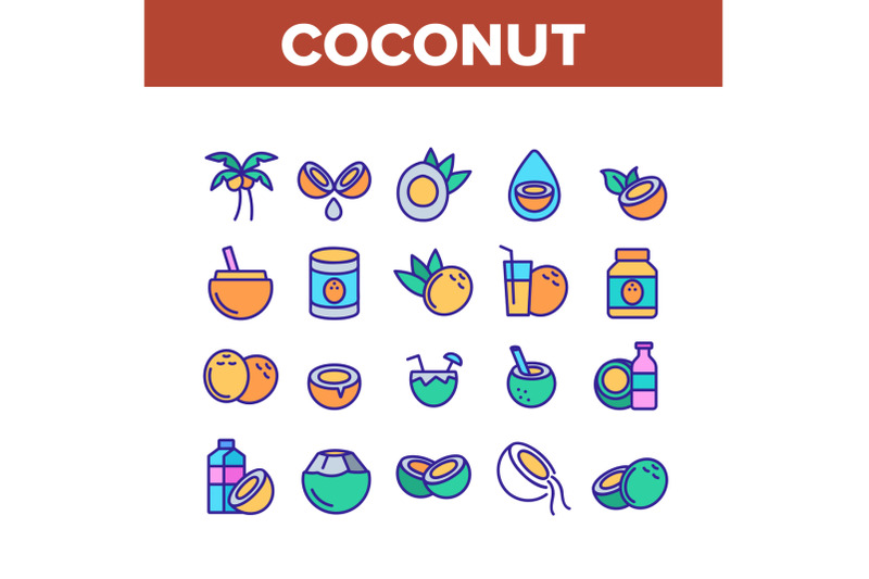 coconut-food-collection-elements-icons-set-vector
