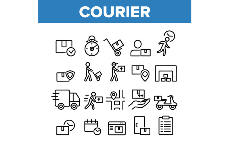 courier-post-collection-elements-icons-set-vector