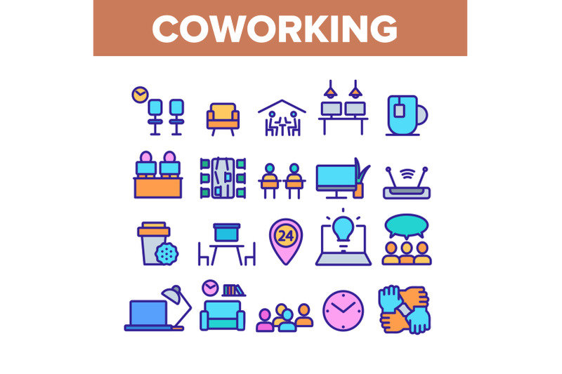 coworking-color-elements-icons-set-vector