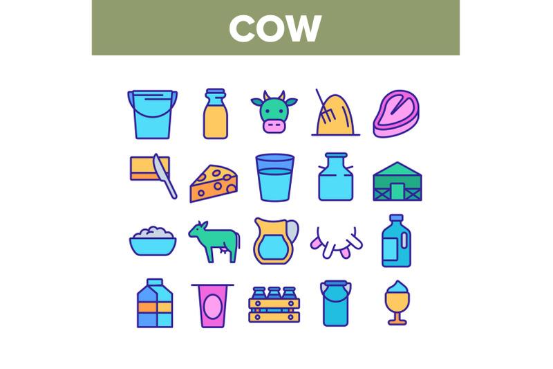 cow-farming-animal-collection-icons-set-vector