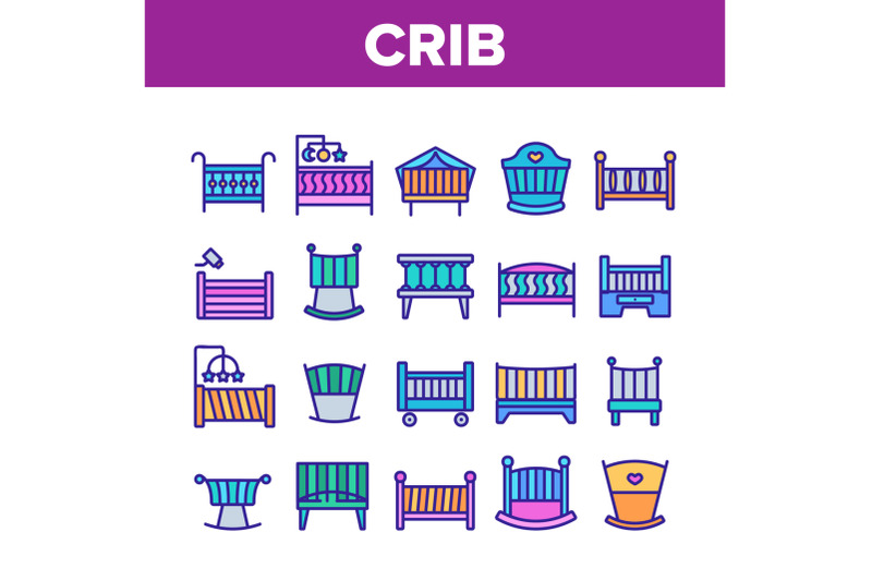 crib-baby-infant-bed-collection-icons-set-vector