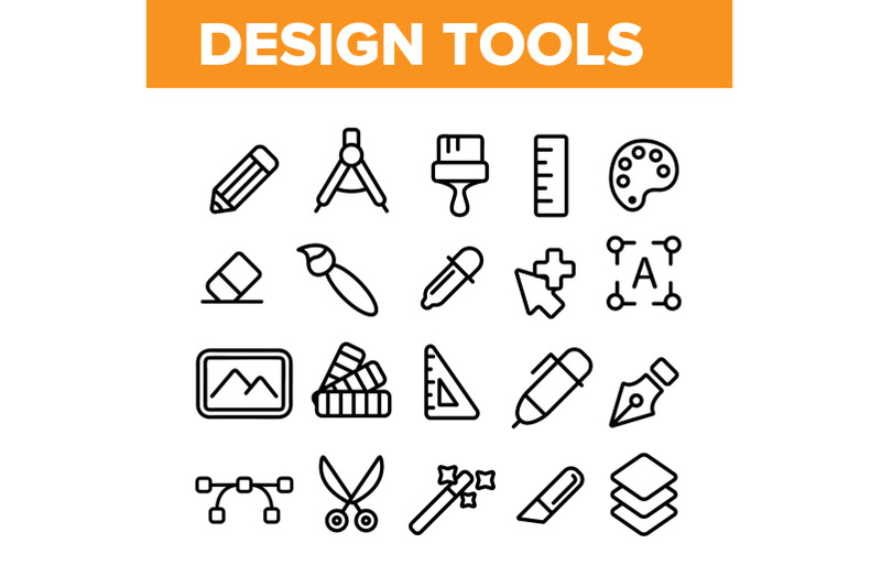 design-tools-vector-thin-line-icons-set