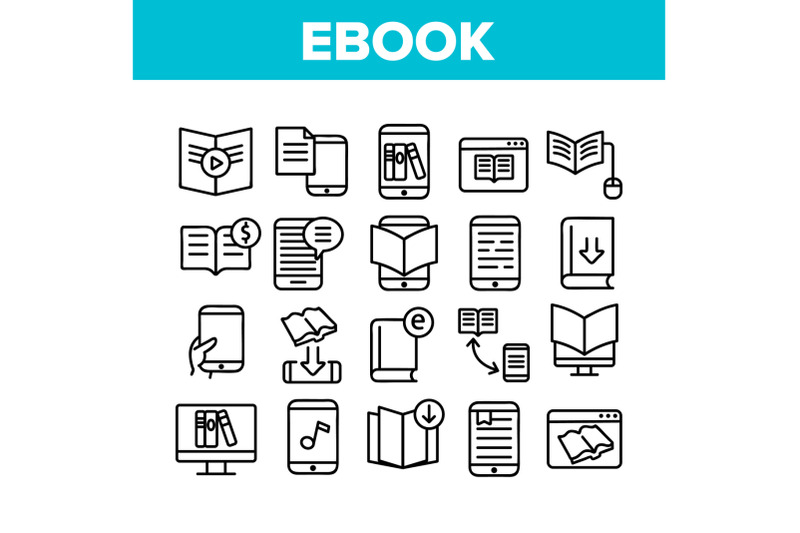 ebook-electronic-tool-collection-icons-set-vector