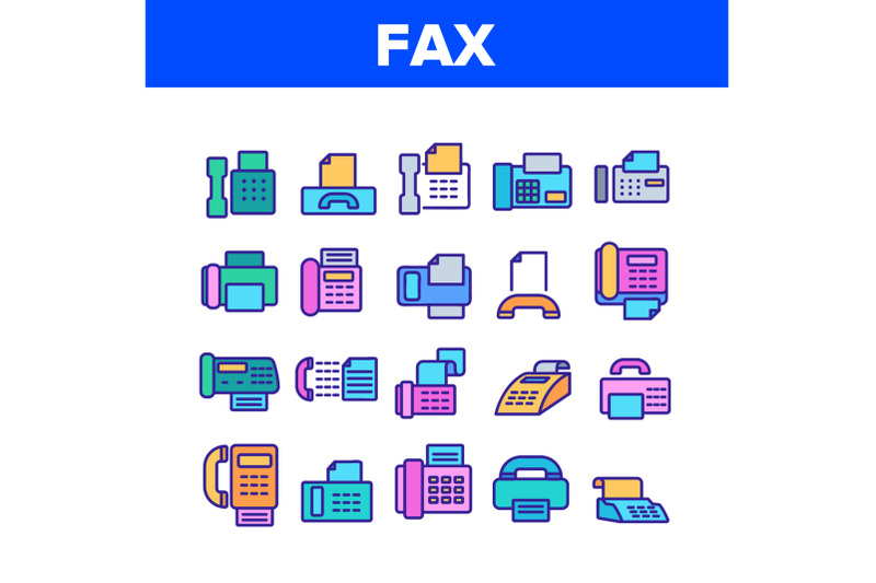 fax-printer-collection-elements-icons-set-vector