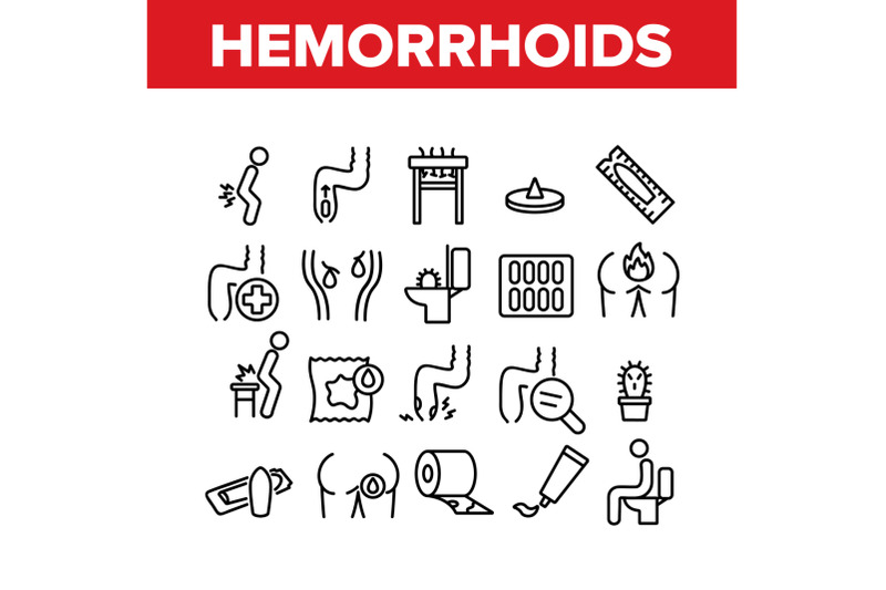hemorrhoids-disease-collection-icons-set-vector