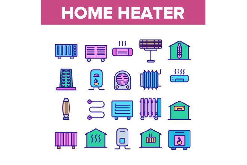 home-heater-collection-elements-icons-set-vector