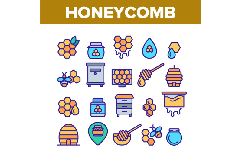 honeycomb-collection-elements-icons-set-vector