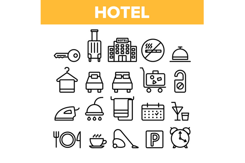 hotel-accommodation-room-amenities-vector-linear-icons-set