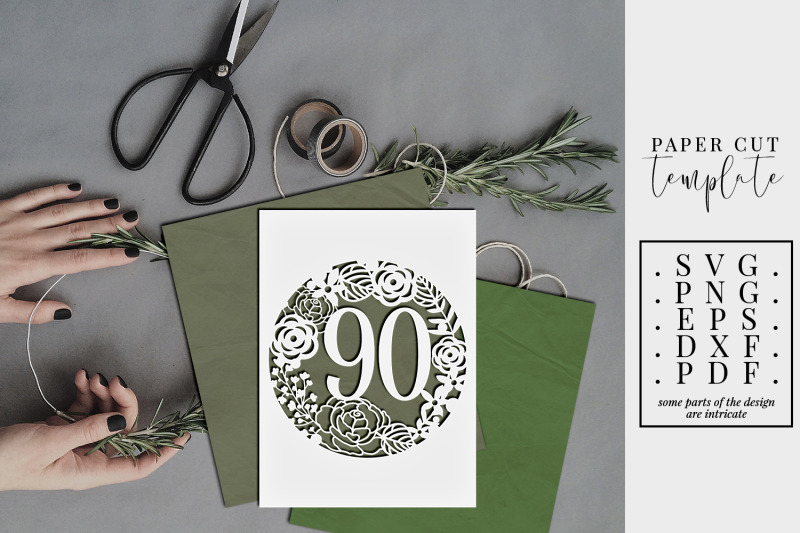90-birthday-frame-papercut-template-90th-birthday-svg-pdf