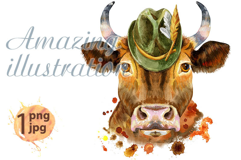 watercolor-illustration-of-a-red-bull-with-hat