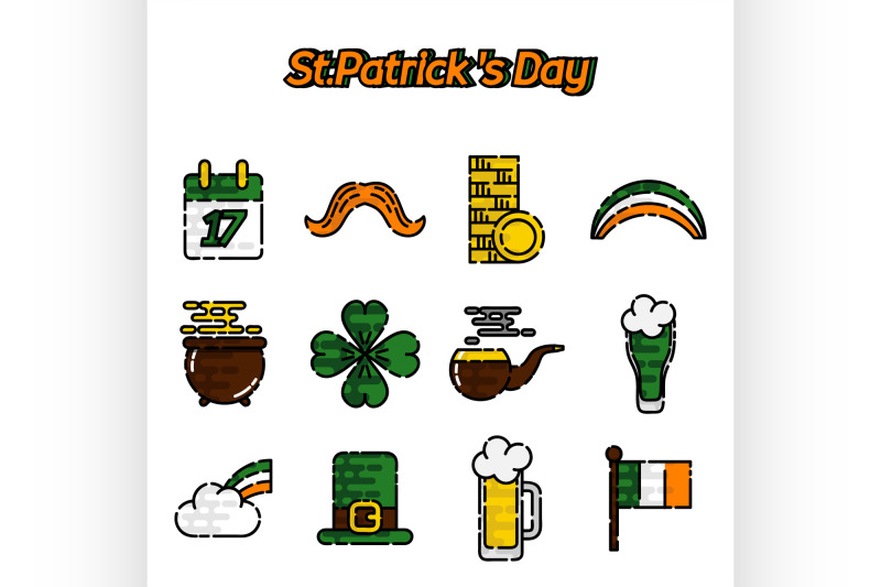 st-patricks-day-flat-icons-set