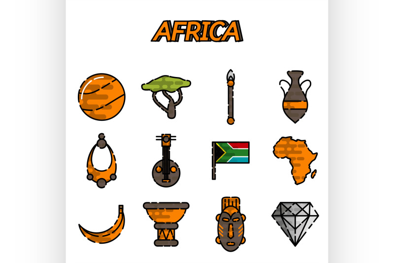 africa-flat-icons-set