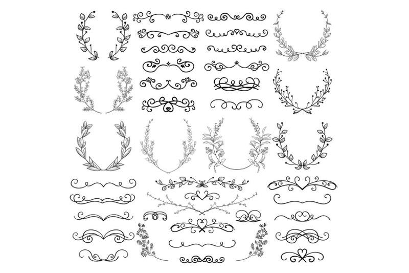 black-hand-drawn-decorative-outlined-swirls-scrolls-dividers-laurel