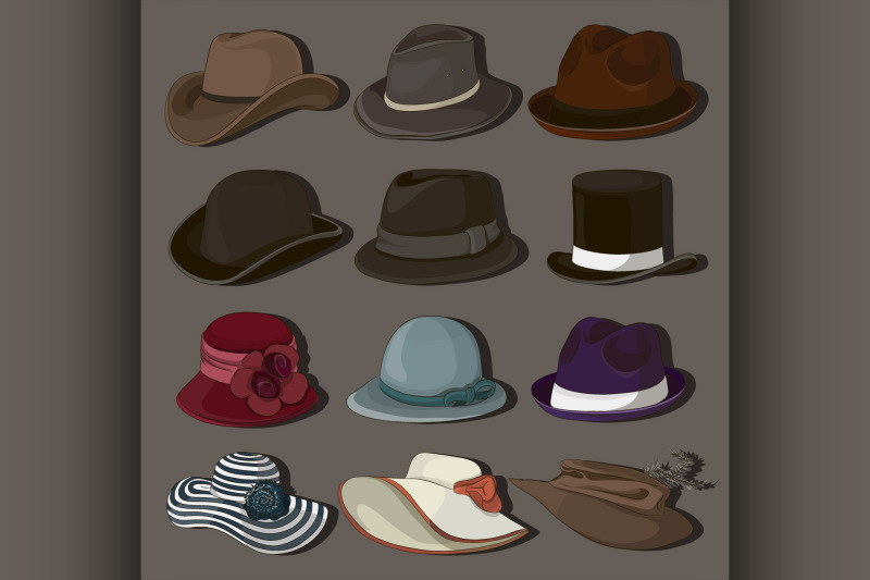 vector-set-of-man-and-woman-hats