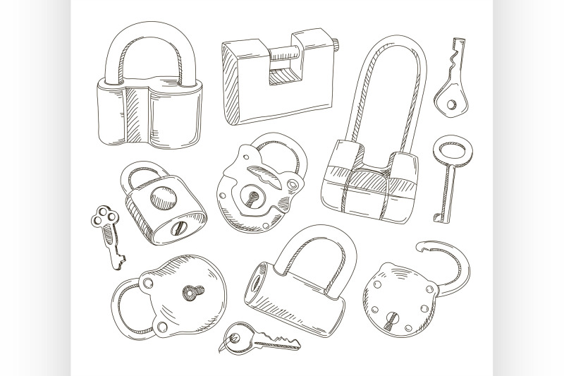doodled-set-of-different-locks-and-keys