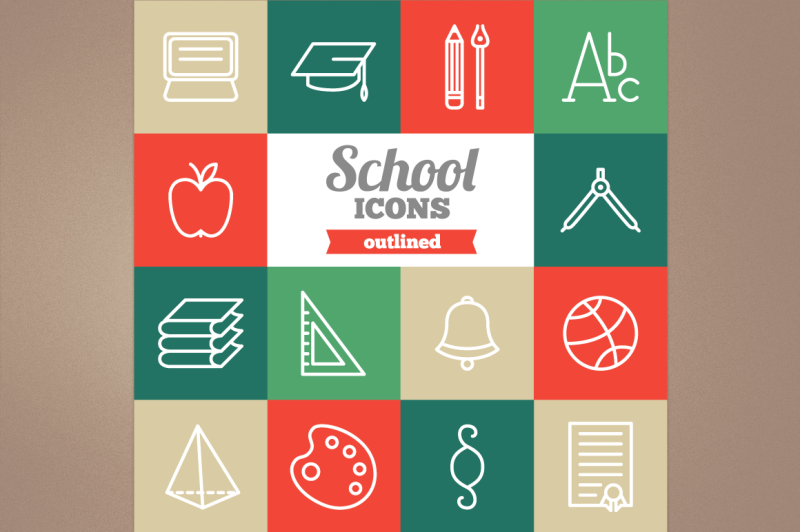 outlined-school-icons