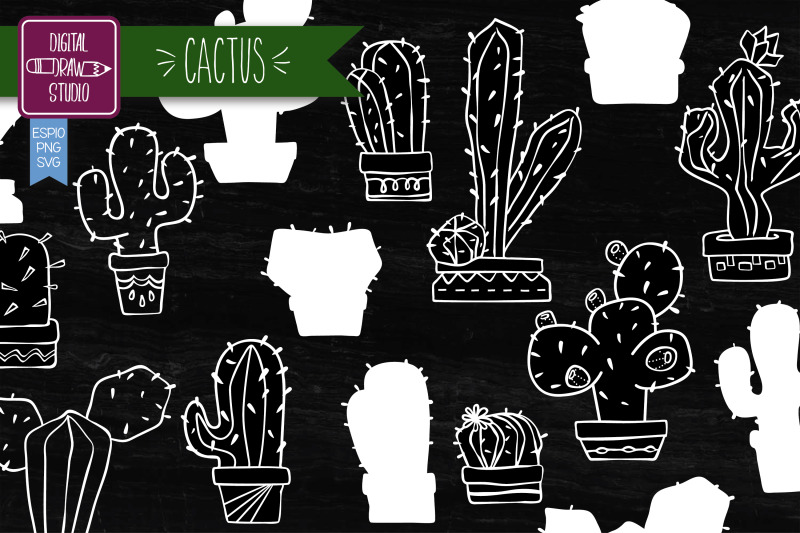 hand-drawn-cactus-white-house-plants-in-flower-pots